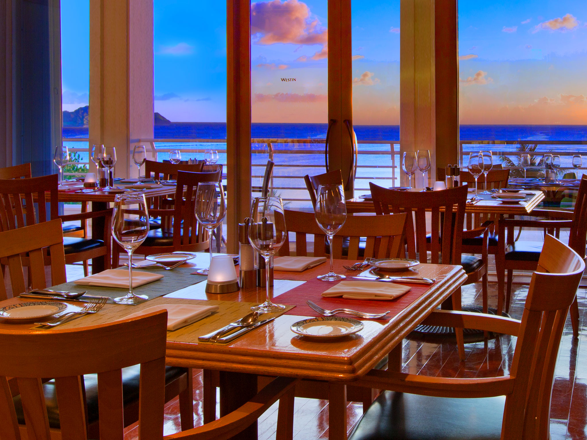 Panoramic ocean view dining